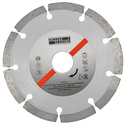 Kotuc diamantový KonaFlex 72 125x1,9x22 mm, Segment DryCut, suché rezanie