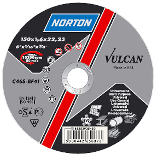 Kotuc NORTON Vulcan A 125x1,6x22 A46S-BF41, Steel-Inox, oceľ-nerez