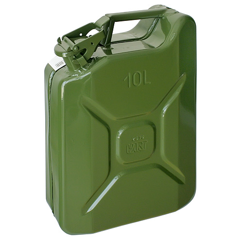 Kanister JerriCan 20 lit, kovový, GS/TUV, zelený, RAL6003