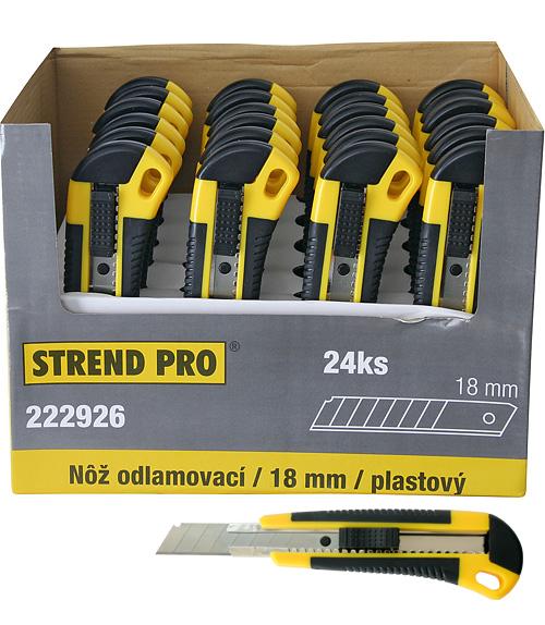 Noz STREND PRO UKBOX-86, 18 mm, odlamovací, plastový, Sellbox 24 ks