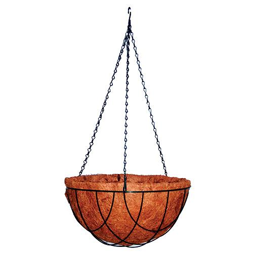 Kvetinac LC-CocoH-22 • oceľ/kokos, závesný, 25x25x12 cm