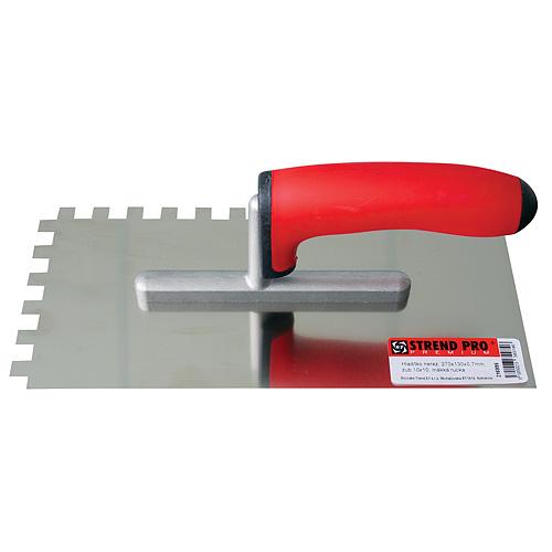 Hladítko nerez Strend Pro Premium, 270x130 mm, 0,7 mm, zuby 4x4 mm,s mäkkou rukoväťou