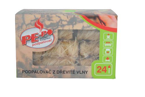 Podpalovac PE-PO®, drevitá vlna, 24 kúskov, 5 cm