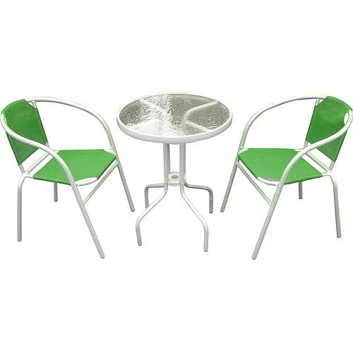 Set balkonovy BRENDA, zelený, stôl 72x59 cm, 2x stolička 60x71 cm