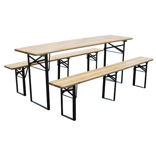 Set pivny DORTMUND Medium3, stôl 200x50x77 cm, 2x lavica 200x25x47 cm, drevo 27 mm