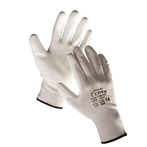 Rukavice BUNTING White 08 (M) záhradné, nylon biele