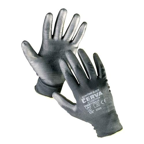 Rukavice BUNTING Black 09 (L) záhradné, nylon