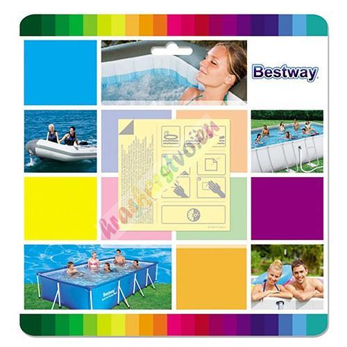 Sada Bestway® 62091, 65x65 mm, na opravu bazéna a nafukovačiek, 10 ks