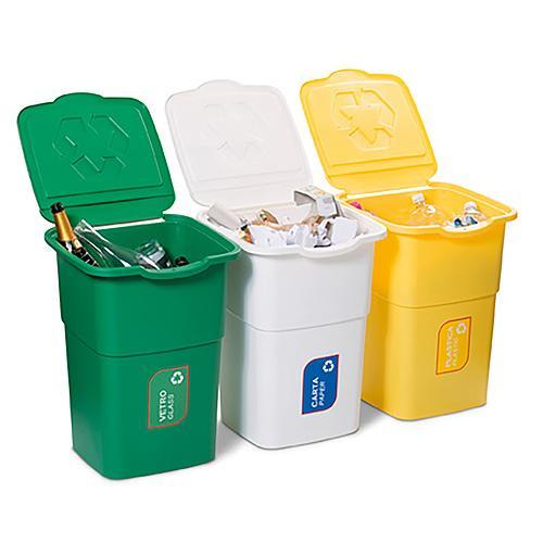 Kos DEAhome ECO 3x 50 lit, zelený-žltý-biely, na recykláciu odpadu