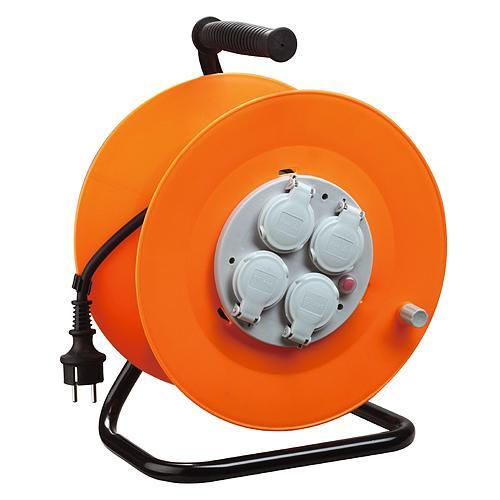 Kabel Strend Pro CR038, 4 zásuvky, L-50 m, IP44, guma, predlžovací, na bubne