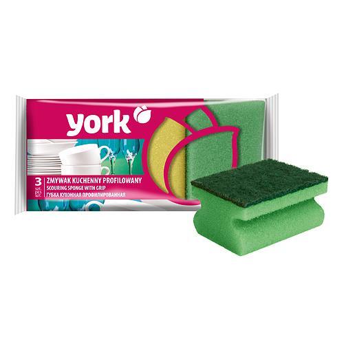 Hubka York 031010, špongia na riad, ergonomicka, 9x7x4.3 cm, bal. 3 ks