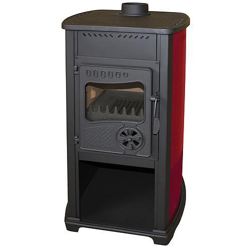Kachle Bella Thalia, červené, 10 kW, 120 cm, liatina/šamot