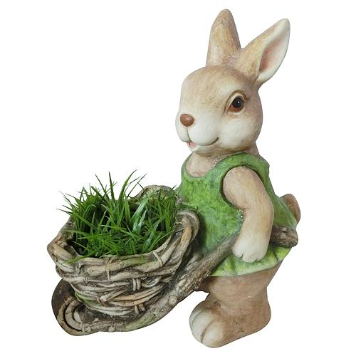 Dekoracia Gecco 8067, Zajac s fúrikom, magnesia, 34 cm
