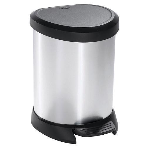 Kôš Curver® DECO BIN 05L, střibrný/černý, na odpadky