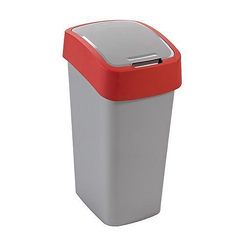 Kôš Curver® FLIP BIN 10L, šedostříbrná/červená, na odpadky