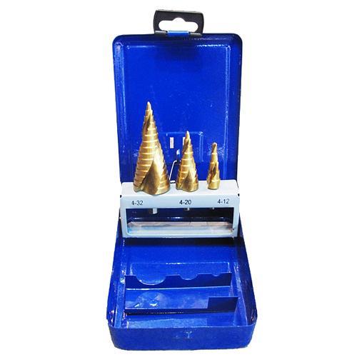 Sada vrtak STREND PRO SS422, 4-12, 4-20, 4-32 mm, TiN, HSS 4241, stupňovitý, špirálový, do kovu