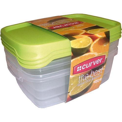 Dozy Curver® na potraviny, 3x1.2L, zelená, 19x15x11 cm
