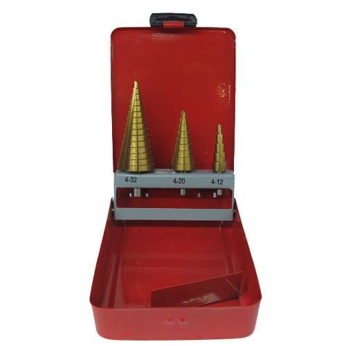 Sada vrtak STREND PRO SS421, 4-12, 4-20, 4-32 mm, TiN, HSS 4241, stupňovitý, rovný, do kovu