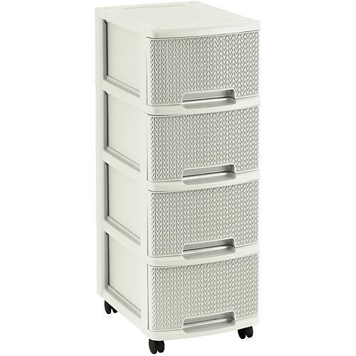 Komoda Curver® KNIT 4x10L, Oasis white, 26x35x68 cm