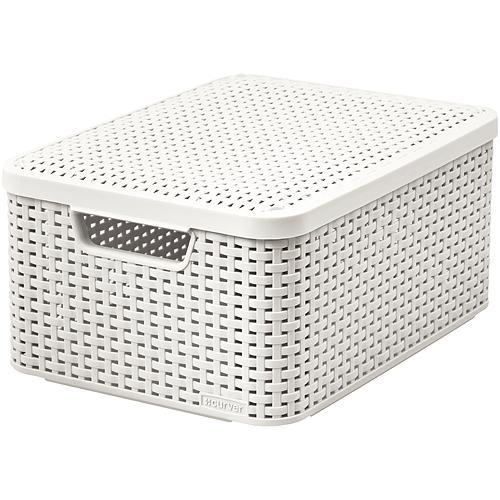 Košík Curver® STYLE M LID, white, 38x29x17 cm, s vekom
