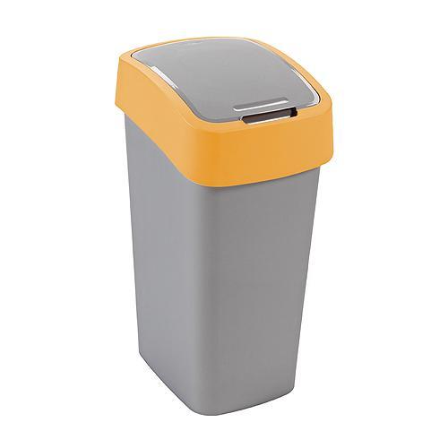 Kôš Curver® FLIP BIN 10L, šedostříbrná/žltá, na odpadky