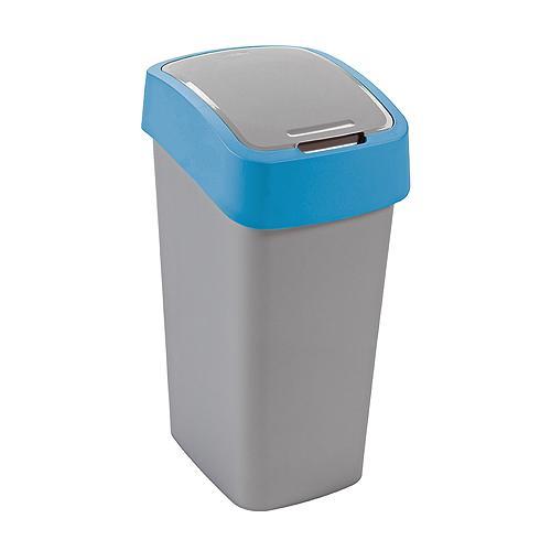Kôš Curver® FLIP BIN 10L, šedostříbrná/modrá, na odpadky
