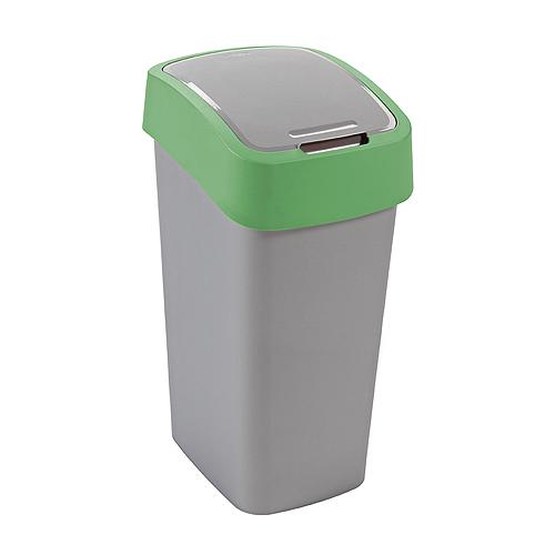 Kôš Curver® FLIP BIN 25L, šedostříbrná/zelená, na odpadky