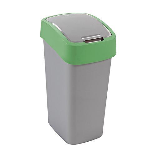 Kôš Curver® FLIP BIN 10L, šedostříbrná/zelená, na odpadky