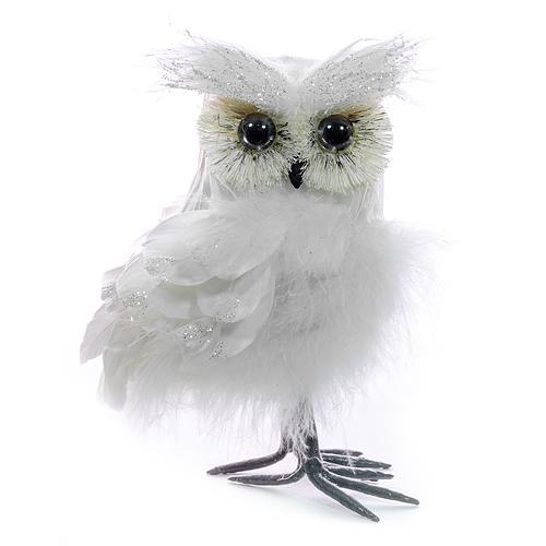 Sova páperová MagicHome, biela, 14 cm