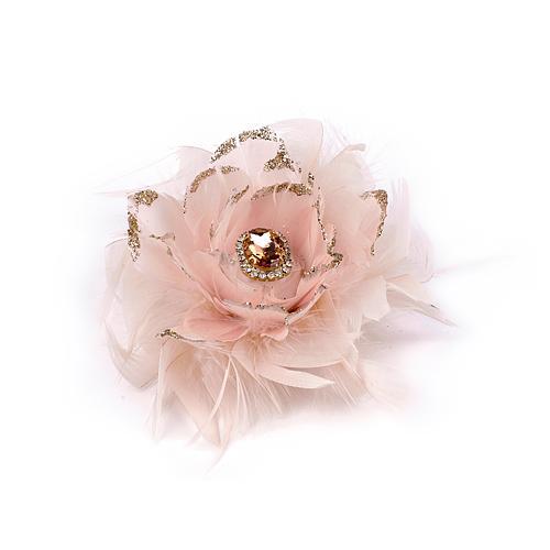 Kvet so štipcom MagicHome, páperový, ružový, 11 cm,