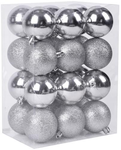 Gule MagicHome, 24 ks, 6 cm, strieborné, na vianočný stromček