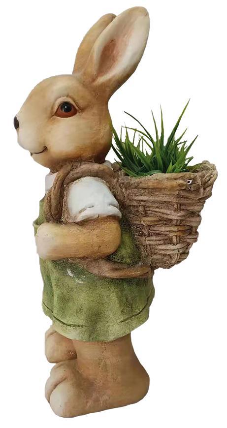 Dekoracia Gecco 8053, Zajačik s košíkom, magnesia, 46 cm