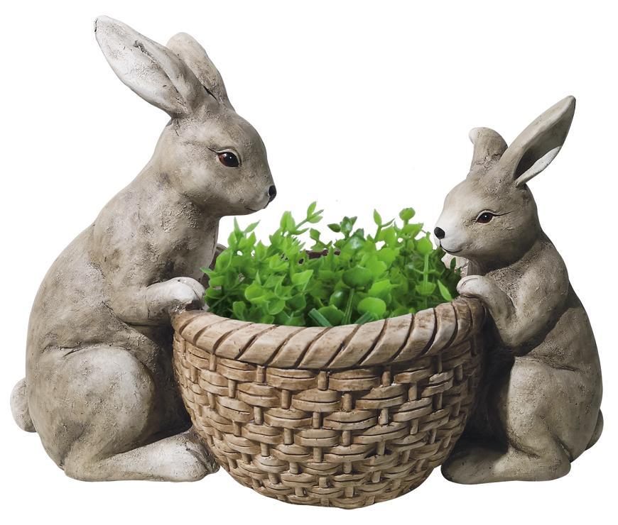 Dekoracia Gecco 8612, Zajace pri košiku, magnesia, 30 cm