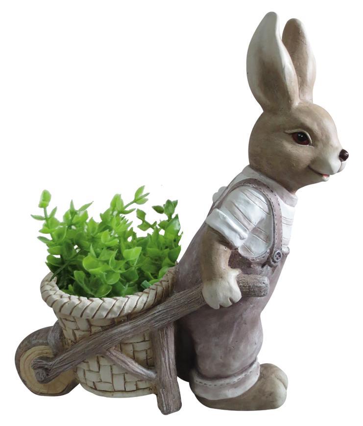 Dekoracia Gecco 8666, Zajačik s vozíčkom, magnesia, 49 cm